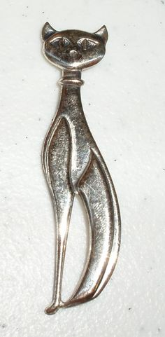 VINTAGE STERLING SILVER SIAMESE CAT PIN/BROOCH BY BEAU