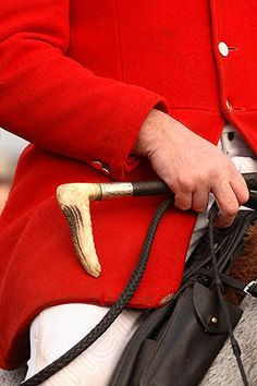 Fox hunting huntmaster wearing traditional bright red scarlet jacket and  with bone handle riding crop