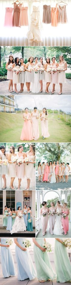 Pastel Mismatched Bridesmaid Dresses - Same Palette different styles by lorimarie. Mismatched Bridesmaid Dresses, Bridesmaids And Groomsmen, Wedding Bridesmaid Dresses, Bridesmaid Inspiration, Wedding Inspiration, Wedding Ideas, My Perfect Wedding, Dream Wedding, Wedding Wishes