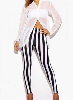 black & white striped leggings #stripes