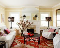 Traditional Living Room Pink Accents Interior Modern Ideas Design