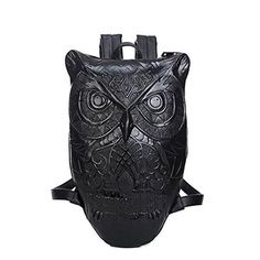Castle Rock Unisex Graphic Embossed Leather 3D Owl Purse Satchel Backpack  Black Black School Bags c3be208d961a7