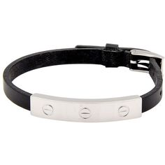 Pre-owned Cartier White Gold Love Bracelet On Black Leather Strap (2,115 CAD) ❤ liked on Polyvore featuring jewelry, bracelets, 18k gold bangle, wide bangle, white gold jewelry, 18 karat gold bracelet and white gold bangle