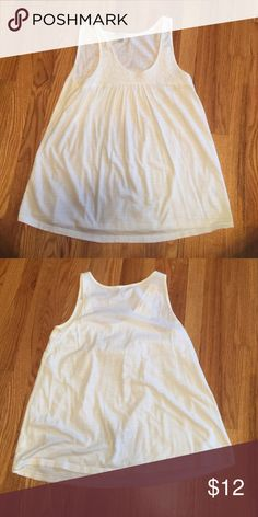 Old Navy White Cotton Tank Flowy and loose, design on top, fits loose around waist Old Navy Tops Tank Tops