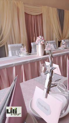 A szürke és rózsaszín következetesen vonult végig a látvány valamennyi elemén. Még az ültetési renden is. Table Decorations, Furniture, Home Decor, Decoration Home, Room Decor, Home Furnishings, Home Interior Design, Dinner Table Decorations, Home Decoration