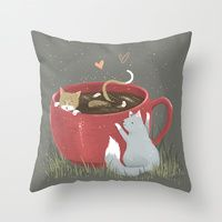 Throw Pillow featuring Coffee Mug Cat Bath by Kelsey King Illustration