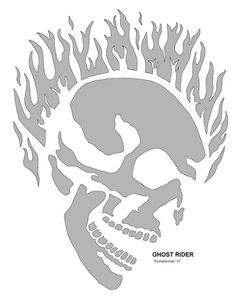 This is a Ghost Rider pumpkin stencil and it's free and printable.  Find lots of great pumpkin designs like this one and carve an awesome pumpkin this year.