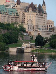 Canada: Ottawa, Ontario - the Ottawa River boat tours - just below the locks, the Col. By museum and the Chateau Laurier (above) where great internationally renowned portrait photographer Yosuf Karsh made his home Ottawa Canada, Ottawa Ontario, Canada Eh, Visit Canada, Canada Ontario, Canada Trip, Montreal Canada, Alberta Canada, Torre Cn