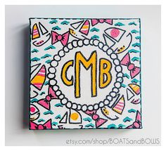 Custom Painted Monogrammed Canvas - Available in 8 Sororities and 12 Prints… Monogram Painting, Monogram Canvas, Cute Crafts, Diy Crafts, Crafty Craft, Crafting, Diy Canvas, Canvas Ideas, Sorority Crafts