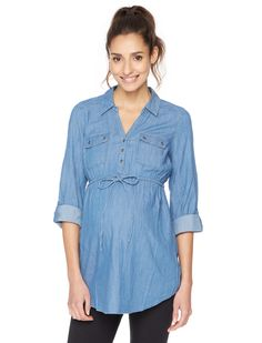 Chambray done right | Convertible sleeve tie front maternity tunic by Motherhood Maternity