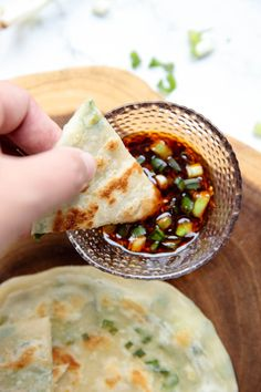 Chinese Scallion Pancakes A delicious soup with plenty of vibrant flavors that's made all in one you try this recipe, never go back to the packaged soups again! Scallion Pancakes Chinese, Chinese Breakfast, Chinese Pancake, Healthy Chinese, Real Chinese Food, Chicken Spring Rolls, Vegetarian Recipes, Cooking Recipes, Drink Recipes