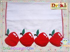 Pano de prato com maçãs em patch aplique