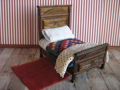 Vintage Wooden Dollhouse Bed w/ Bedding  One Inch by TheToyBox