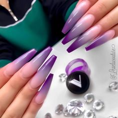 Two tone nails are very popular nowadays. You must have seen many models and celebrities show off beautiful manicured nails with the coolest two tone nail designs on them. As the name suggests, two tone nails art means that the wearer uses two differ Purple Ombre Nails, Purple Acrylic Nails, Best Acrylic Nails, Acrylic Nail Designs, Purple Art, Acrylic Nail Powder, Perfect Nails, Gorgeous Nails, Dope Nails