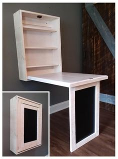 """Murphy Dinette with Chalkboard """"Minimalist Style"""" Compact Folding Dining Table Zero Footprint Tiny House.Handcrafted Solid Pine Made in USA Tiny House Furniture, Space Saving Furniture, Home Furniture, Murphy Table, Murphy Desk, Fold Out Table, Study Table Designs, Timber Frame Homes, Tiny House Design"""