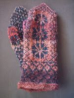 Blue Midget mittens in red The black yarn is a 2 ply wool yarn bought at a yard sale.  The red yarn is home spun, the wool is bought as mi...
