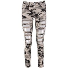 Boohoo Amelia All Over Distress Camo Skinny Jeans (€11) ❤ liked on Polyvore featuring jeans, super skinny jeans, white skinny jeans, distressed skinny jeans, white high waisted jeans and high-waisted boyfriend jeans