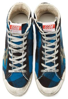 Turquoise Flannel Francy Sneakers by Golden Goose. High-top checked flannel sneakers in turquoise and black. Distressed and smudging effect throughout. Round-toe with white rubber cap. Logo stamp at lace-up closure. Contrasting suede trim at eyerow and heel counter. Logo flag at tongue. Zip closure at interior face.  http://zocko.it/LEJWY