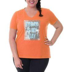 Plus Size Danskin Now Women's Plus Graphic V Neck Tee, Size: 4XL, Orange