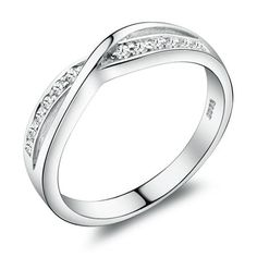 H&A Swiss Diamond Twist Channel Setting and 925 Sterling Silver Promise Ring with White Gold Plated | Bellast
