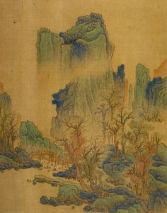 Mountain Landscape With Figures Crossing Bridge,  From Album Of Paintings.     East Asia, China. Period     Qing dynasty, 1644-1911. Culture     Chinese
