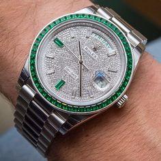 Super Rare Rolex Day-Date 40 Green Emerald Platinum Price €430,000  @ablogtowatch