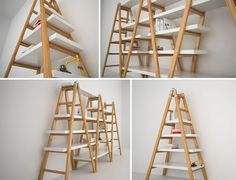 Love this idea...but maybe old wooden ladders? Cool chabby chic colors....