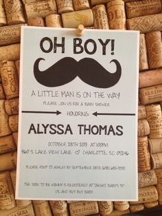 Baby Shower Invitations Mustache