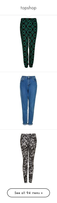 """""""topshop"""" by paradapermitida on Polyvore featuring pants, trousers, topshop, black, bottoms, jeans, mid stone, 5 pocket jeans, blue high waisted jeans e highwaist jeans"""