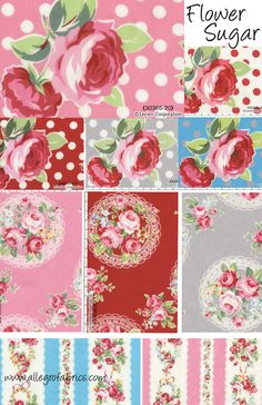 Flower Sugar Fabric Lecien 2012 Red Pink Roses Flowers White Polka Dots on Pink