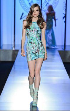 blue dress versace short