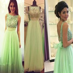 Crystal Prom Dresses 2016 Scoop Sleeveless Backless Floor Length Tulle Sexy A-line Formal Gown Party Dresses