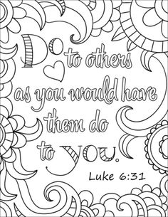 Do To Others As You Would Have Them Coloring Page From Bible Verse