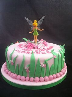 Tinkerbell Fairy Birthday Party Food Ideas like cake and cupcakes