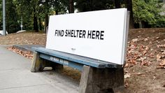 A Vancouver charity, RainCity Housing, is converting city benches into pop-up shelters for homeless people. And by giving homeless people in this rainy city some dry coverage and a place to rest, RainCity is putting London's anti-homeless spikes to shame. Vancouver, Urban Furniture, Street Furniture, Furniture Buyers, Furniture Online, Design Café, Logo Design, Design Concepts, Interior Design