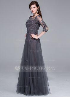 Vestidos princesa/ Formato A Decote redondo Longos Tule Vestido de festa com…
