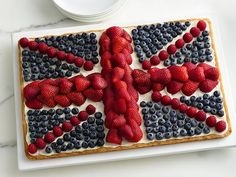 Union Jack Fruit Pizza Recipe     fantastic for our patriots unit to rival our flag cake.