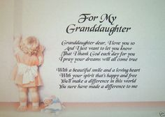 "A PERSONALISED POEM FOR GRANDDAUGHTER - LAMINATED GIFT - 8 x 11.5"" / A4"