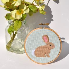 Bunny Rabbit Embroidery Hoop Art Cottage Chic Small by Sewingseed