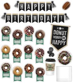 Schoolgirl Style - Industrial Café Birthday Bulletin Board Set - DECOR TO YOUR DOOR {PREPRINTED PRODUCT MAILED TO YOUR DOOR}