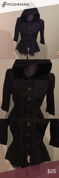 Black hooded cardigan steampunk goth Black hooded cardigan with pockets  Tag size is Large. More of a juniors Large. Sweaters Cardigans