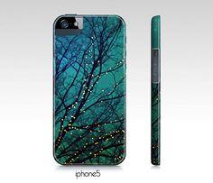 "Aqua phone case, Samsung S3, S4, iphone 4, 5 case, ipad hard case ""Magical night"" landscape,night,twinkle lights,trees,turquoise,blue on Etsy, $35.00"