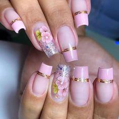 Gel Uv Nails, Polygel Nails, Bling Nails, Red Nails, Acrylic Nail Tips, Cute Acrylic Nail Designs, Colorful Nail Designs, Cute Acrylic Nails, Bridal Nail Art