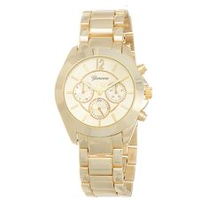 """Gold tone metal band boyfriend style watch featuring a 1 1/2"""" nautical style watch face."""
