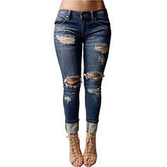 1674017e786 VICVIK Women Knee Skinny Denim Distressed Ripped Boyfriend Jeans XL     Continue to the product