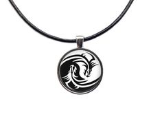Yin and Yang necklace Dragon pendant Animal by blacknwhitenecklace