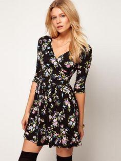 Elegant V Neck Half Sleeve Short Women Floral Dresses