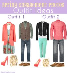Outfit ideas for Spring Engagement Pictures Engagement Dresses, Engagement Photo Outfits, Engagement Photo Inspiration, Engagement Couple, Engagement Photos, Engagement Session, Fall Engagement, Engagements, Style Inspiration