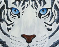 """""""White Tiger"""" Social Artworking Canvas Painting Design --The Rocky theme song might play on repeat in your head while you paint the """"eye of the tiger"""". The graphic black and white pattern with those piercing blue eyes will give a pop of the unexpected in your decor. This piece would also be ideal for a teen's bedroom.  CANVAS SIZE:  16"""" x 20""""  TIME TO PAINT:  approximately 2 hours 30 minutes"""