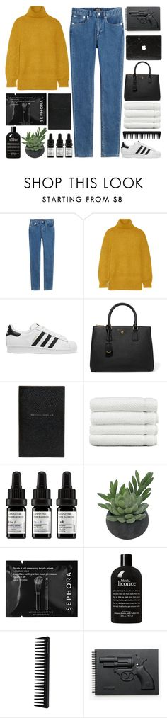 """""""2016"""" by pure-and-valuable ❤ liked on Polyvore featuring A.P.C., ADAM, adidas Originals, Prada, Smythson, Linum Home Textiles, Odacité, Threshold, Sephora Collection and philosophy"""